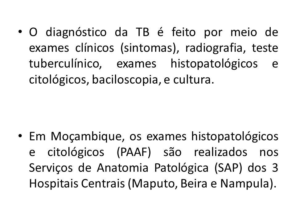 O diagnóstico da TB é feito por meio de exames clínicos (sintomas), radiografia, teste tuberculínico, exames histopatológicos e citológicos, baciloscopia, e cultura.