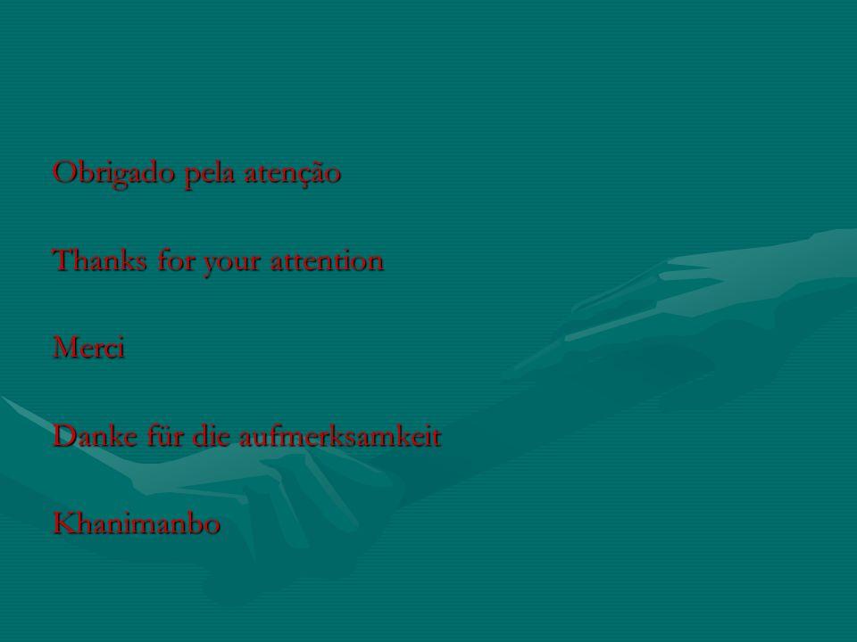 Obrigado pela atenção Thanks for your attention Merci Danke für die aufmerksamkeit Khanimanbo