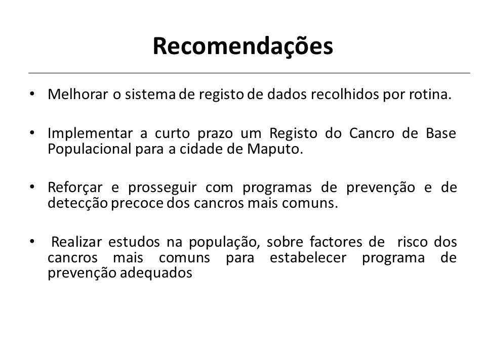 Recomendações Melhorar o sistema de registo de dados recolhidos por rotina.