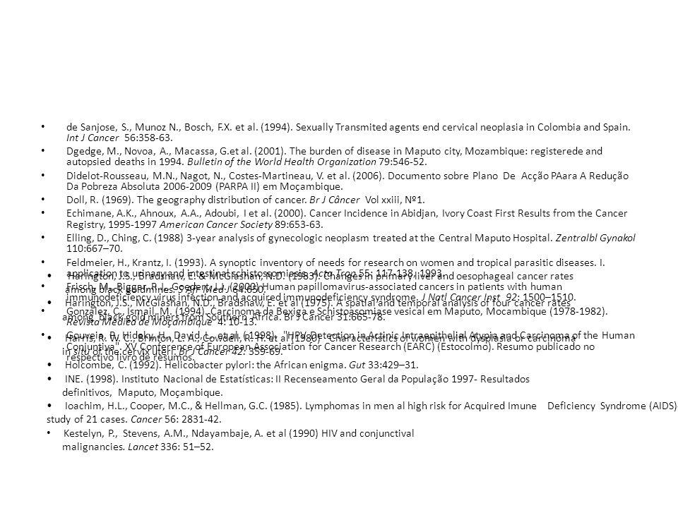 de Sanjose, S. , Munoz N. , Bosch, F. X. et al. (1994)