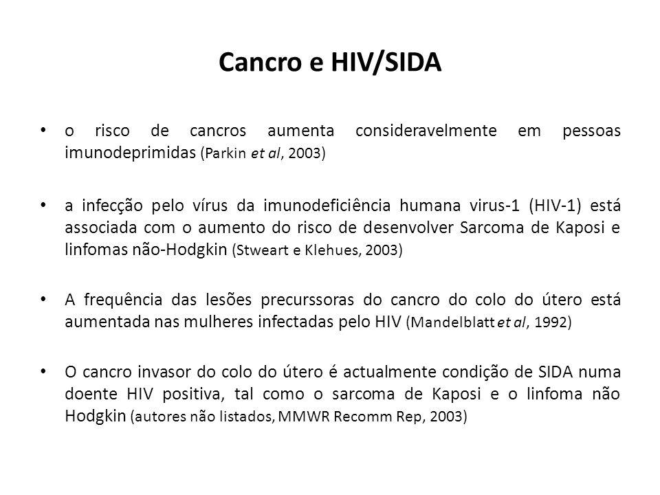 Cancro e HIV/SIDA o risco de cancros aumenta consideravelmente em pessoas imunodeprimidas (Parkin et al, 2003)