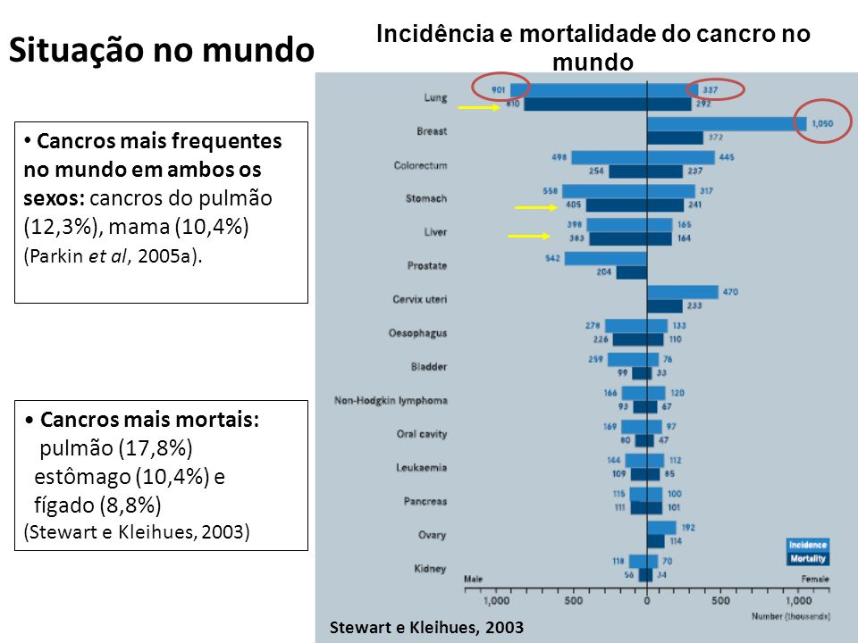 Incidência e mortalidade do cancro no mundo