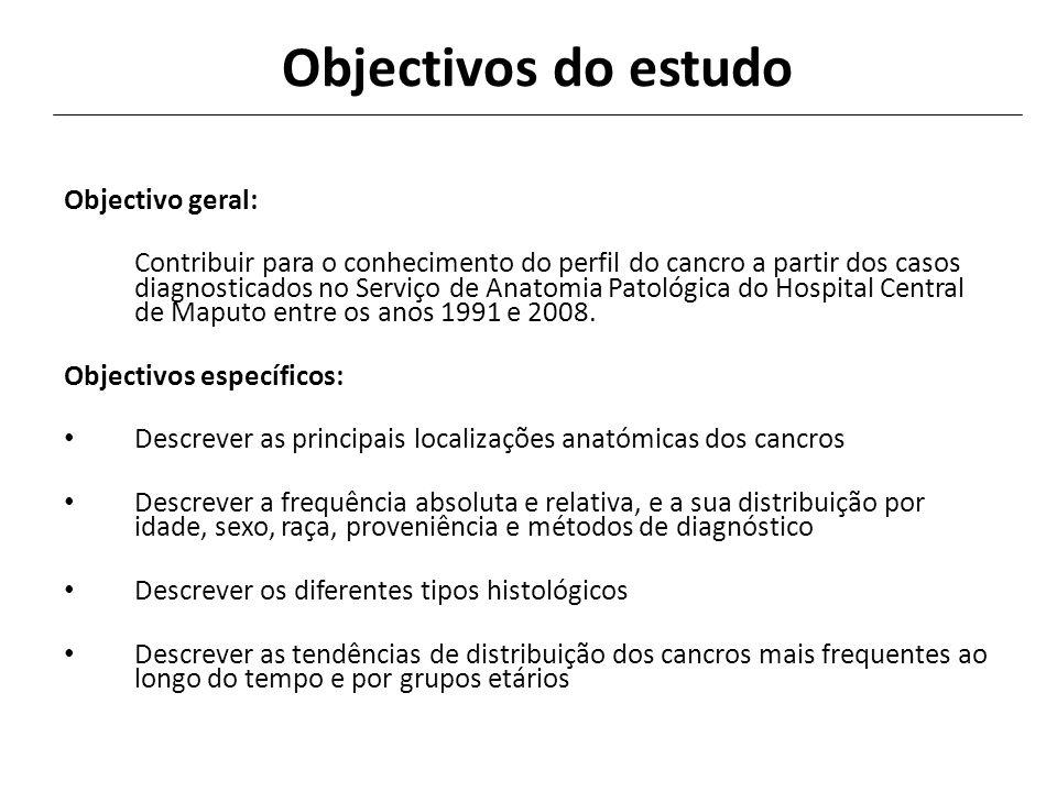 Objectivos do estudo Objectivo geral: