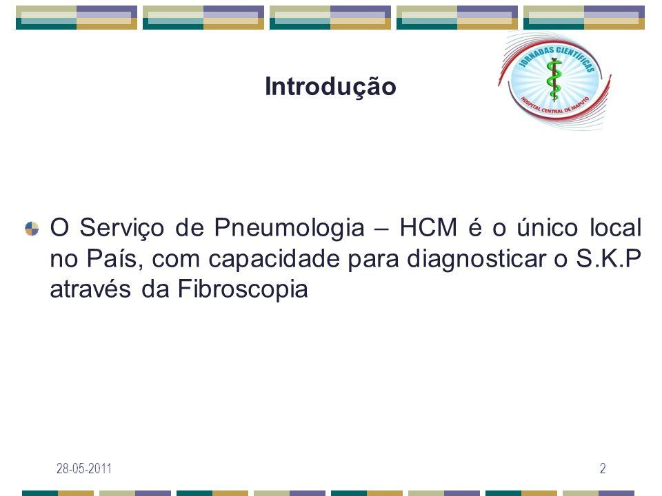 Introdução O Serviço de Pneumologia – HCM é o único local no País, com capacidade para diagnosticar o S.K.P através da Fibroscopia.