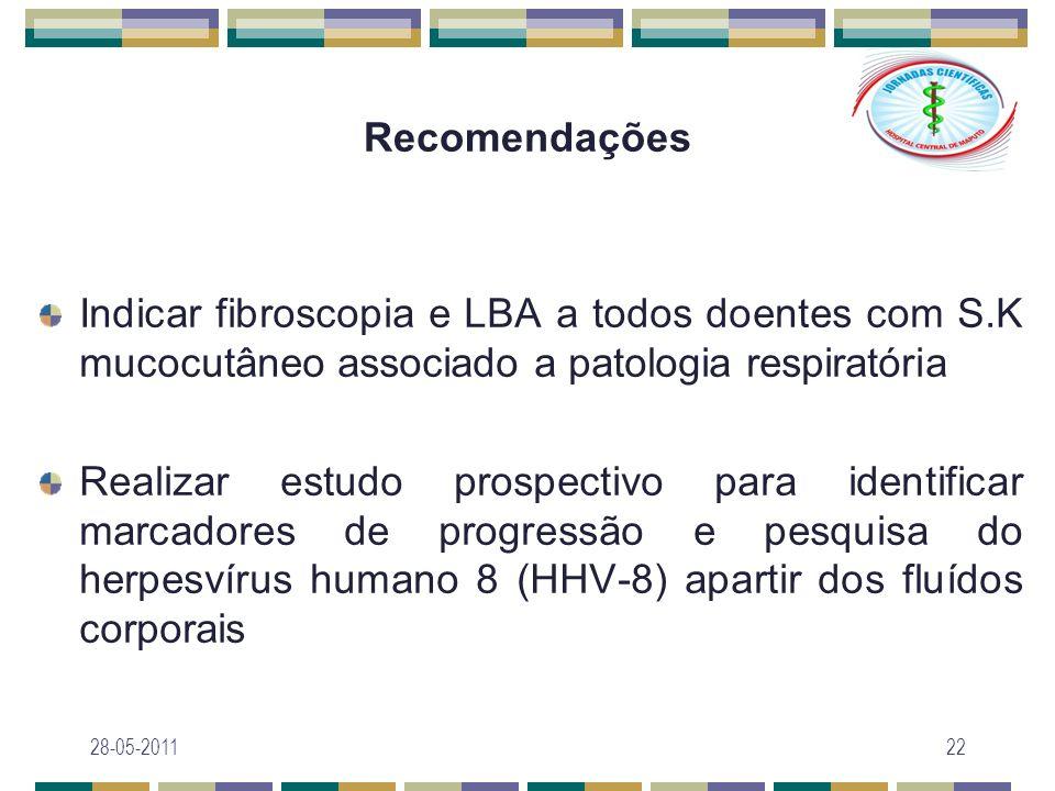 Recomendações Indicar fibroscopia e LBA a todos doentes com S.K mucocutâneo associado a patologia respiratória.