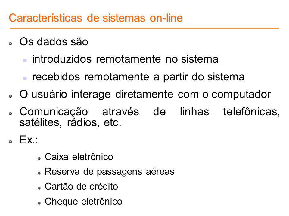 Características de sistemas on-line Os dados são