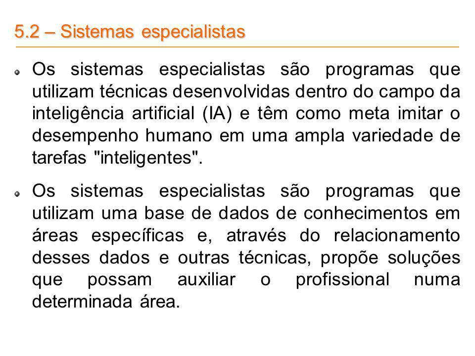 5.2 – Sistemas especialistas
