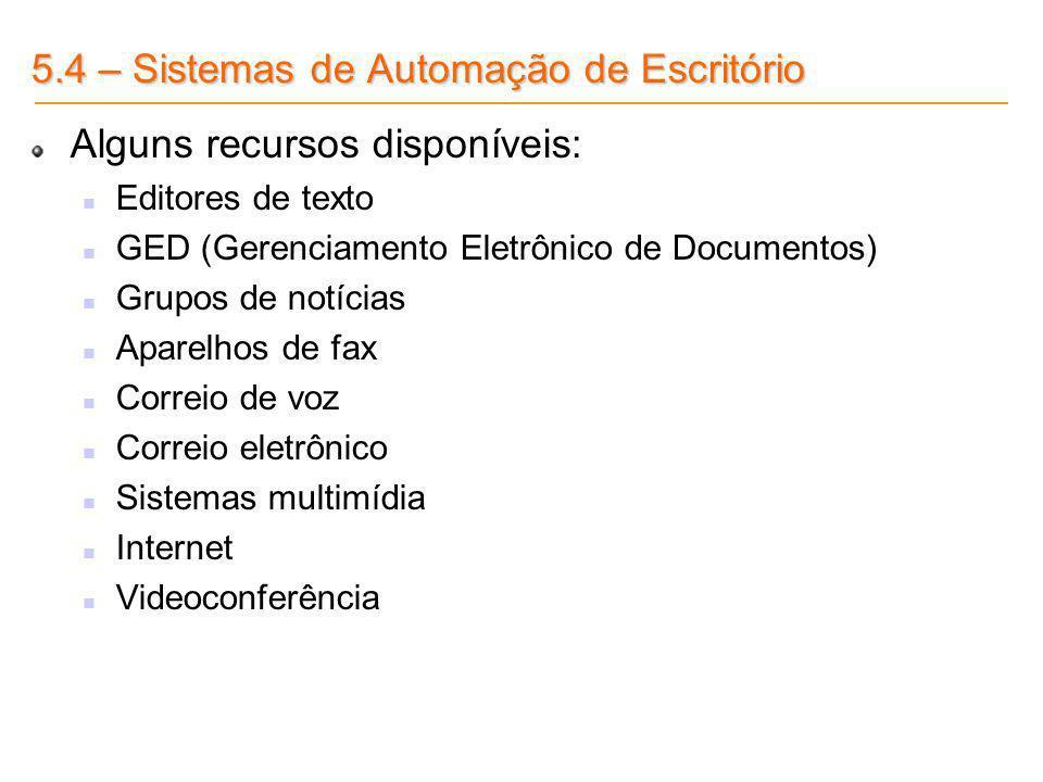 5.4 – Sistemas de Automação de Escritório Alguns recursos disponíveis: