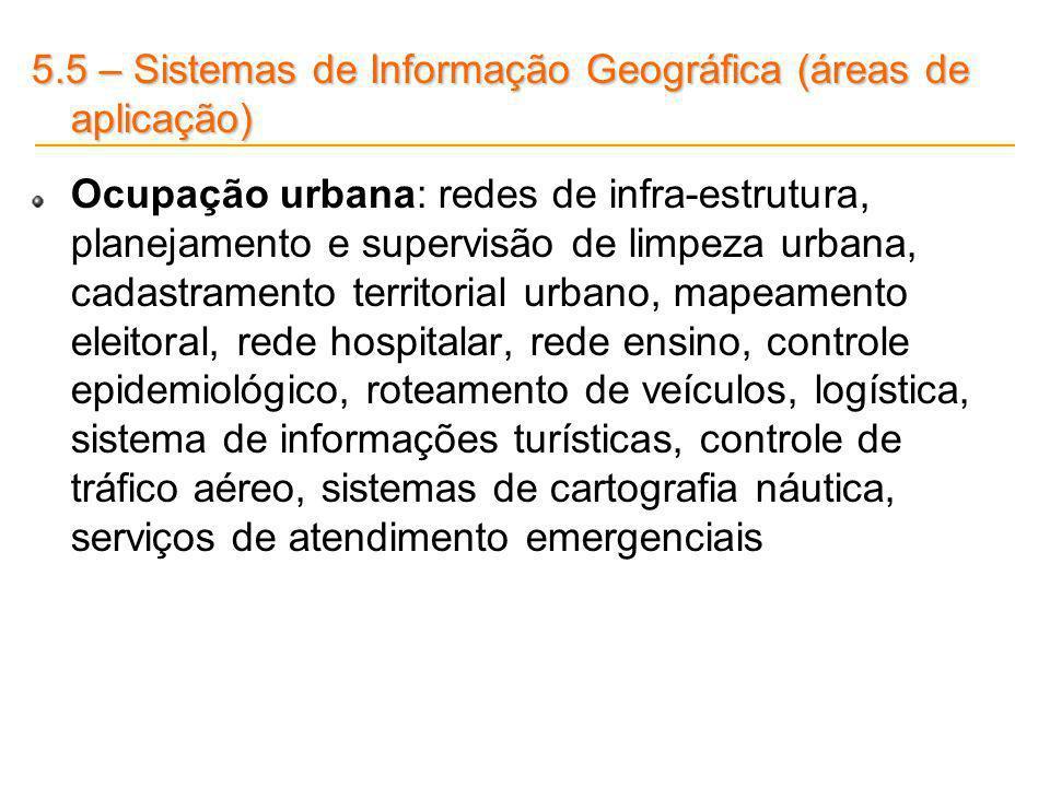 5.5 – Sistemas de Informação Geográfica (áreas de aplicação)