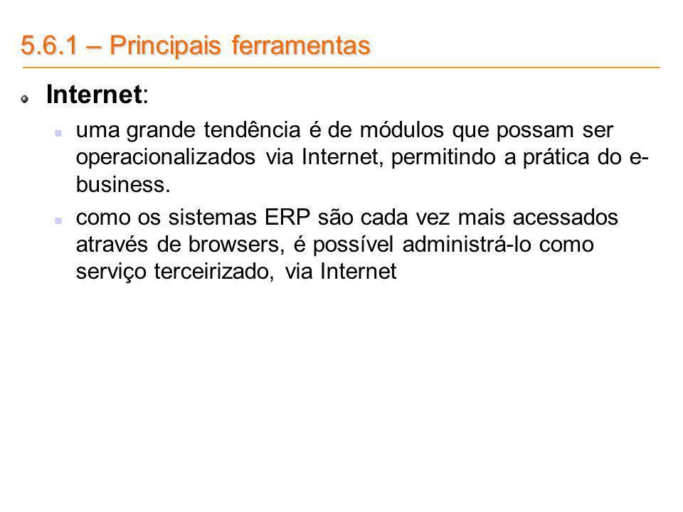5.6.1 – Principais ferramentas Internet: