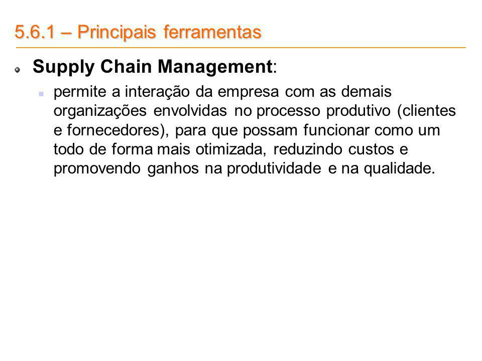 5.6.1 – Principais ferramentas Supply Chain Management:
