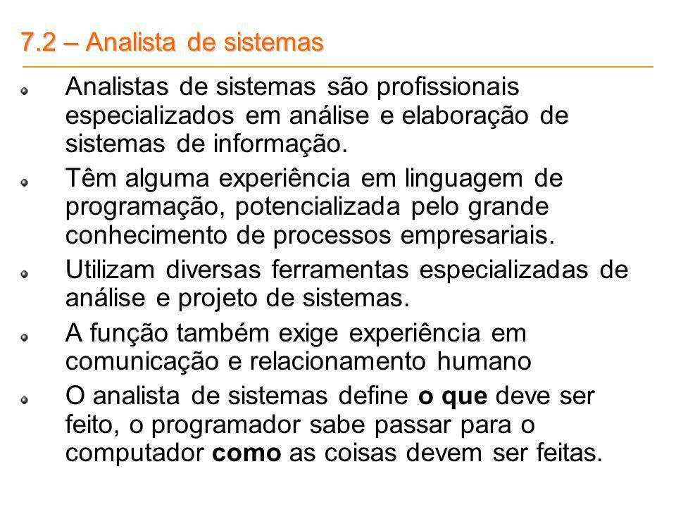 7.2 – Analista de sistemas Analistas de sistemas são profissionais especializados em análise e elaboração de sistemas de informação.