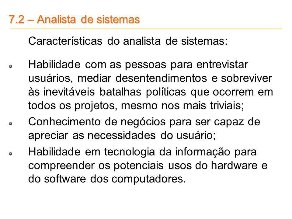 7.2 – Analista de sistemas Características do analista de sistemas: