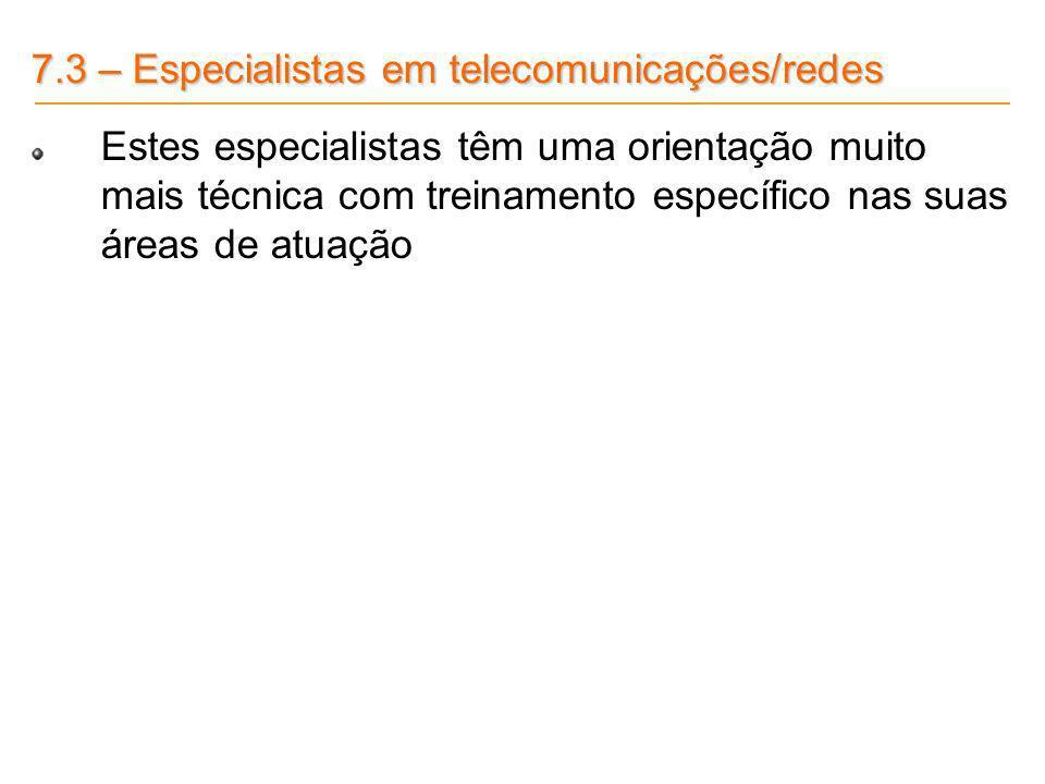 7.3 – Especialistas em telecomunicações/redes