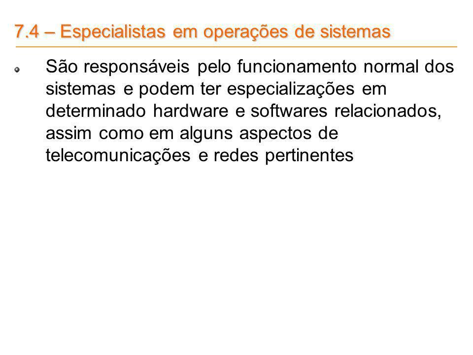 7.4 – Especialistas em operações de sistemas