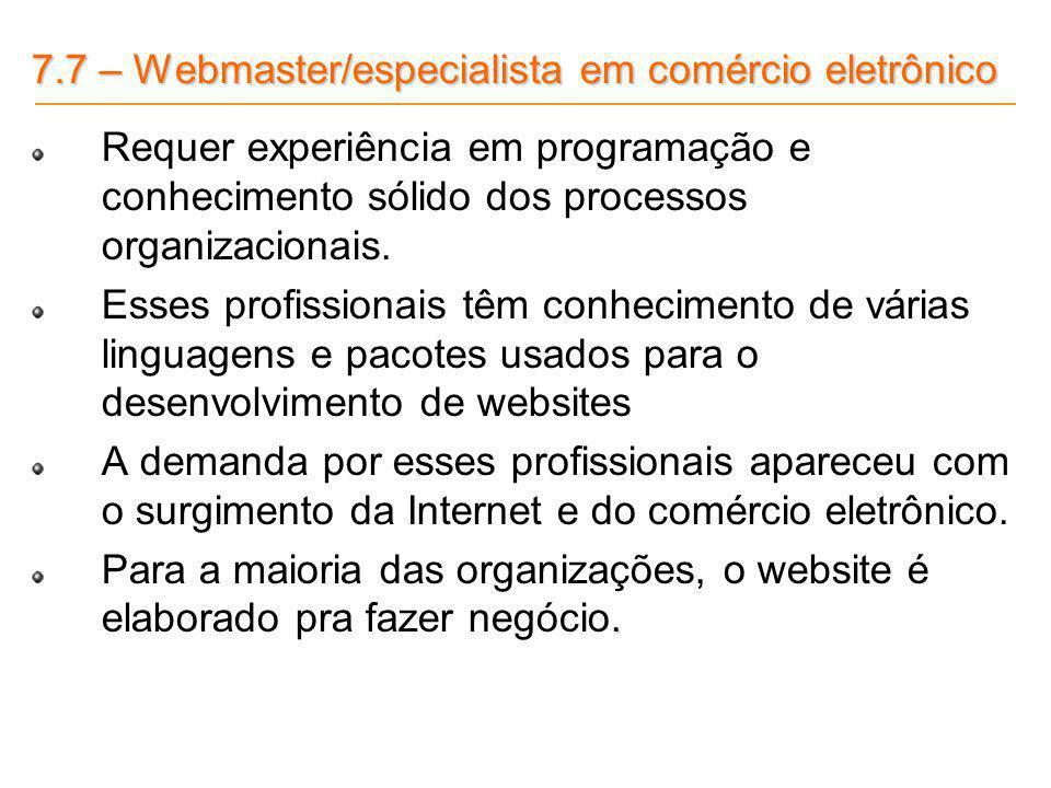 7.7 – Webmaster/especialista em comércio eletrônico