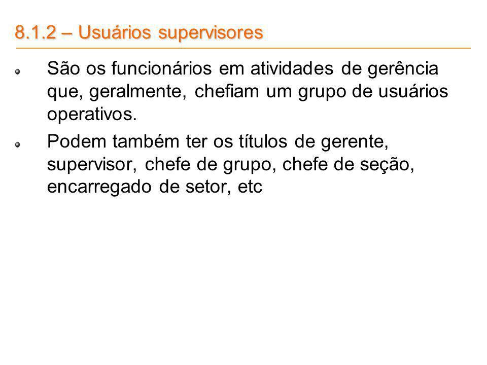 8.1.2 – Usuários supervisores