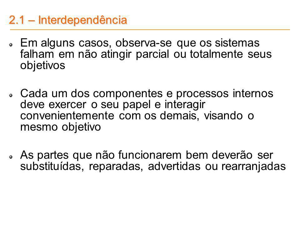 2.1 – Interdependência Em alguns casos, observa-se que os sistemas falham em não atingir parcial ou totalmente seus objetivos.