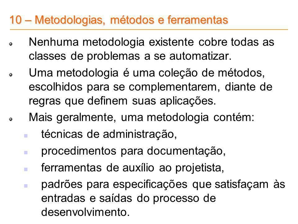 10 – Metodologias, métodos e ferramentas
