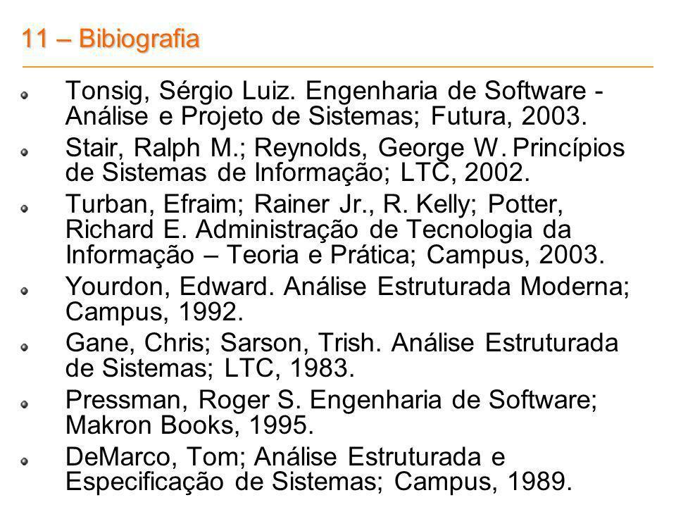 11 – Bibiografia Tonsig, Sérgio Luiz. Engenharia de Software - Análise e Projeto de Sistemas; Futura, 2003.