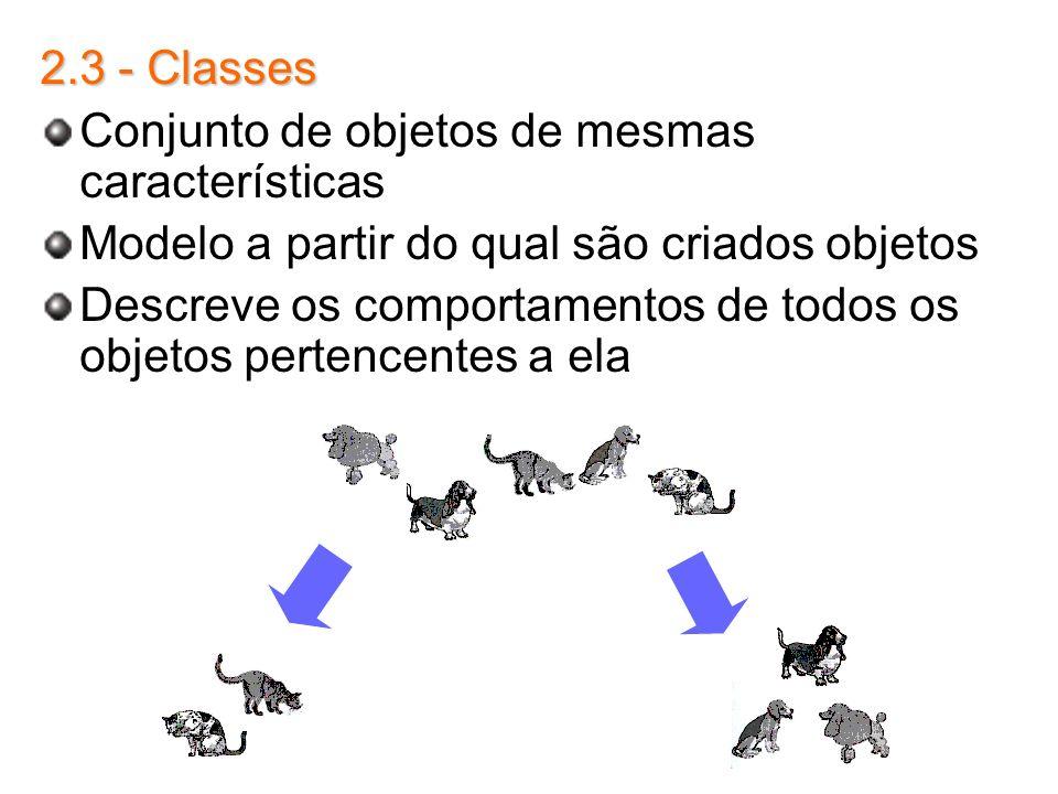2.3 - Classes Conjunto de objetos de mesmas características. Modelo a partir do qual são criados objetos.