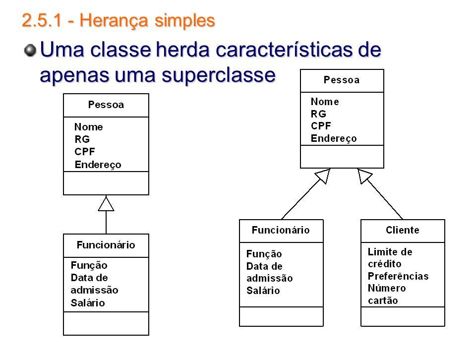 Uma classe herda características de apenas uma superclasse