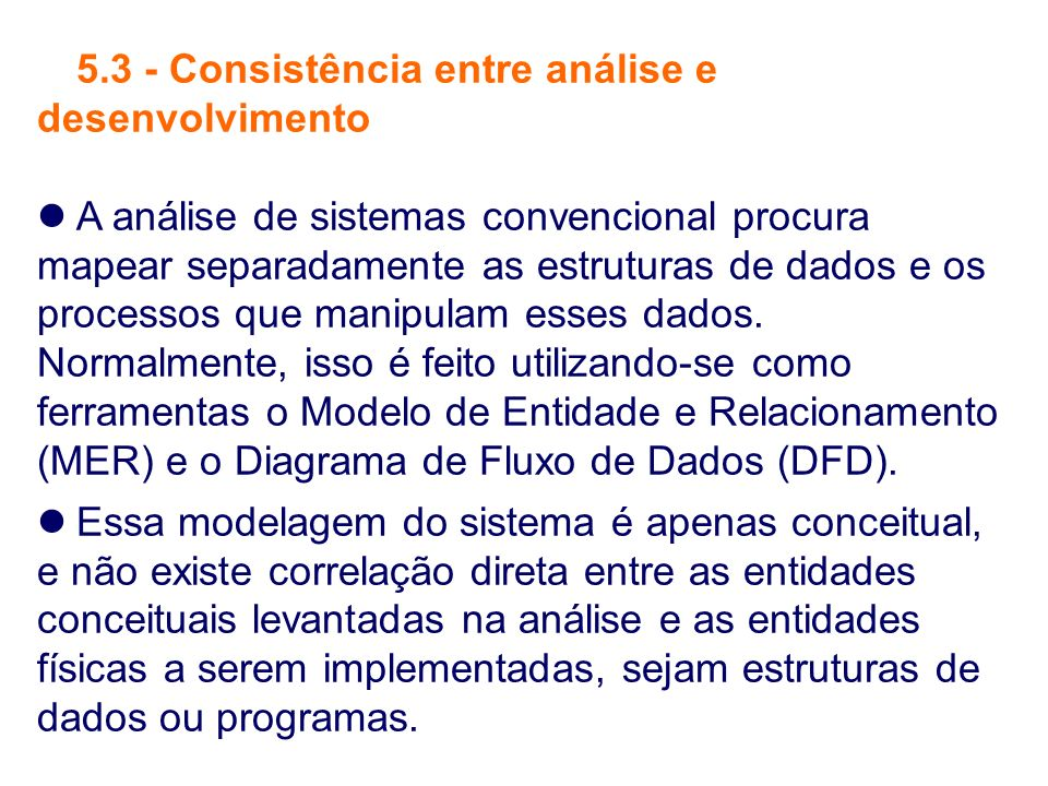 5.3 - Consistência entre análise e desenvolvimento