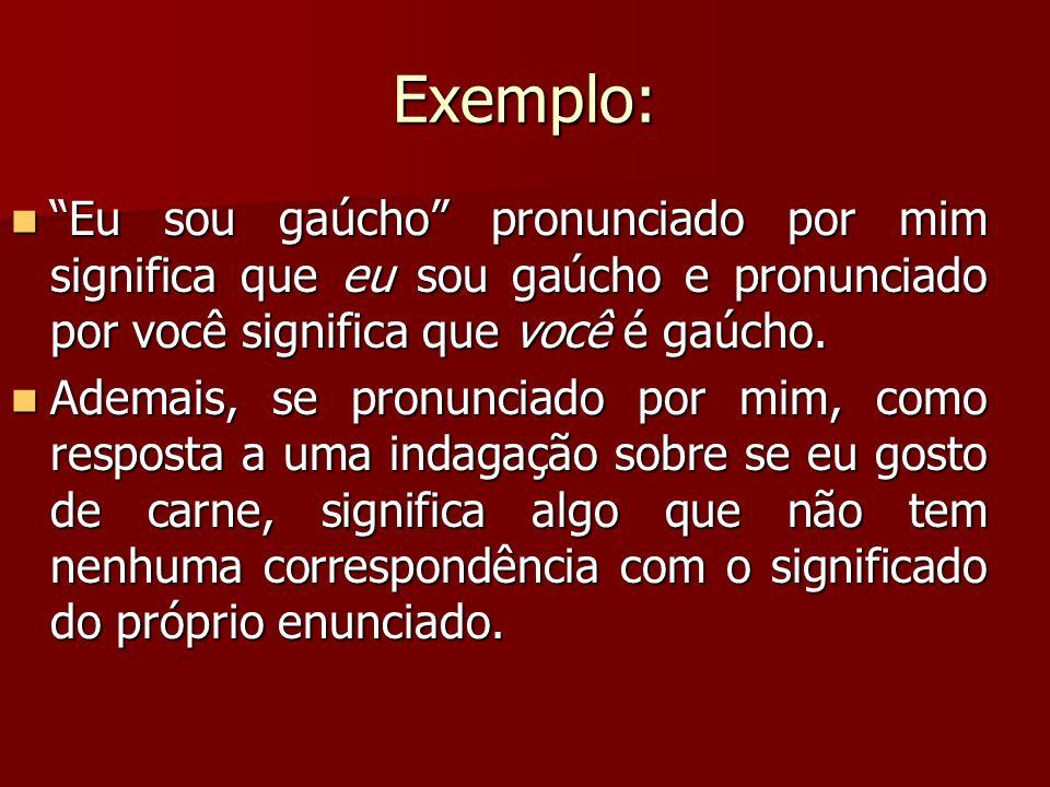 Exemplo: Eu sou gaúcho pronunciado por mim significa que eu sou gaúcho e pronunciado por você significa que você é gaúcho.