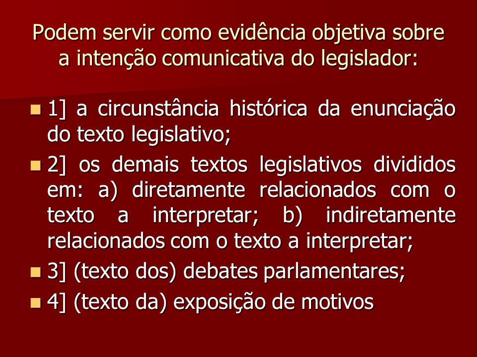 Podem servir como evidência objetiva sobre a intenção comunicativa do legislador: