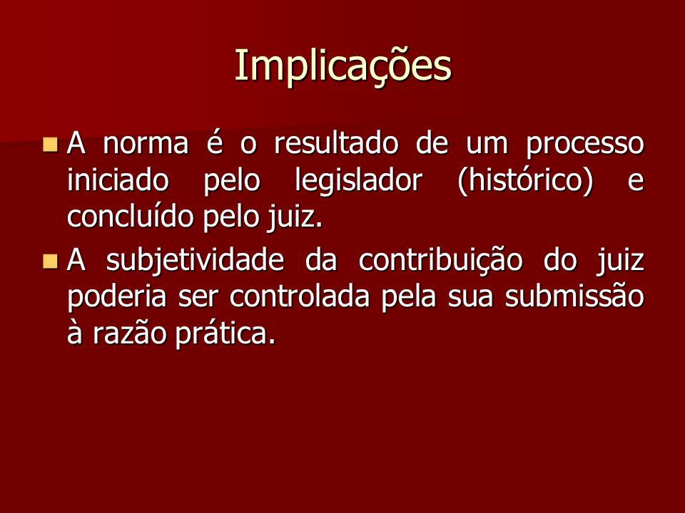 Implicações A norma é o resultado de um processo iniciado pelo legislador (histórico) e concluído pelo juiz.
