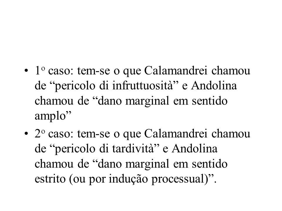 1o caso: tem-se o que Calamandrei chamou de pericolo di infruttuosità e Andolina chamou de dano marginal em sentido amplo