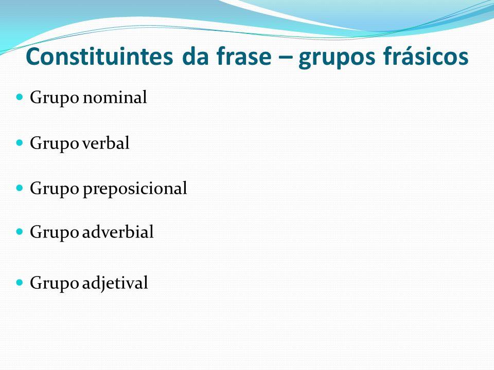 Constituintes da frase – grupos frásicos