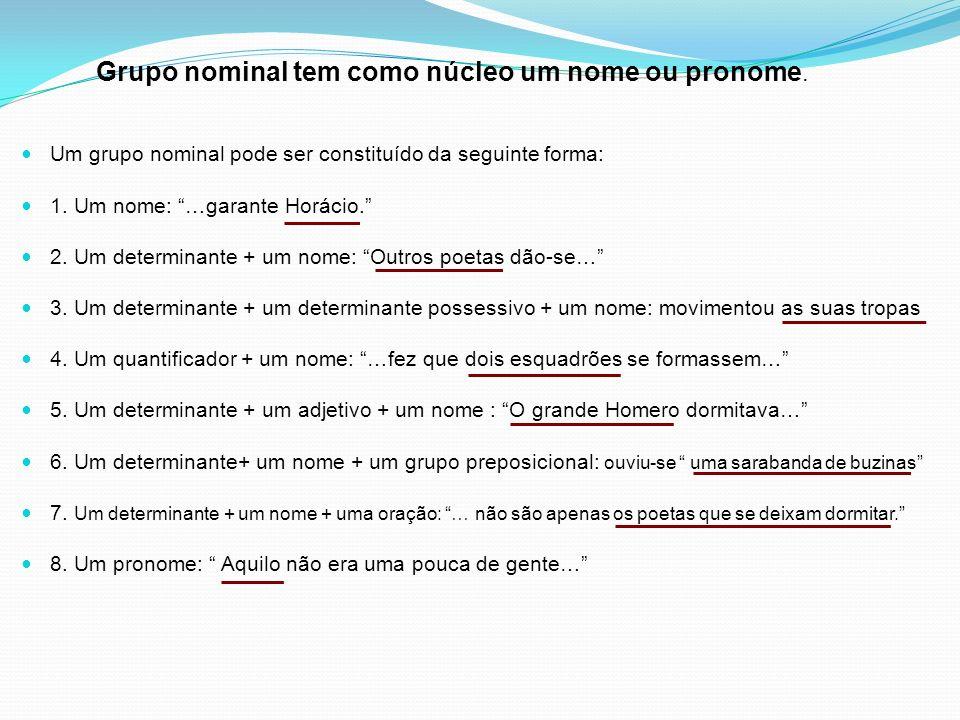 Grupo nominal tem como núcleo um nome ou pronome.