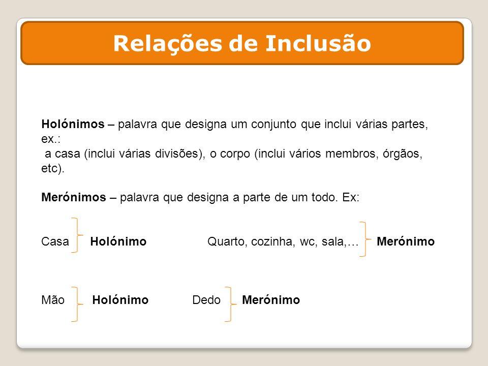 Relações de Inclusão Holónimos – palavra que designa um conjunto que inclui várias partes, ex.: