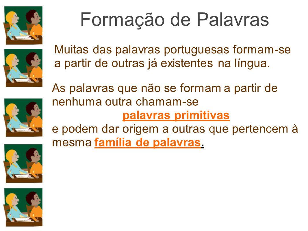 Formação de Palavras Muitas das palavras portuguesas formam-se a partir de outras já existentes na língua.