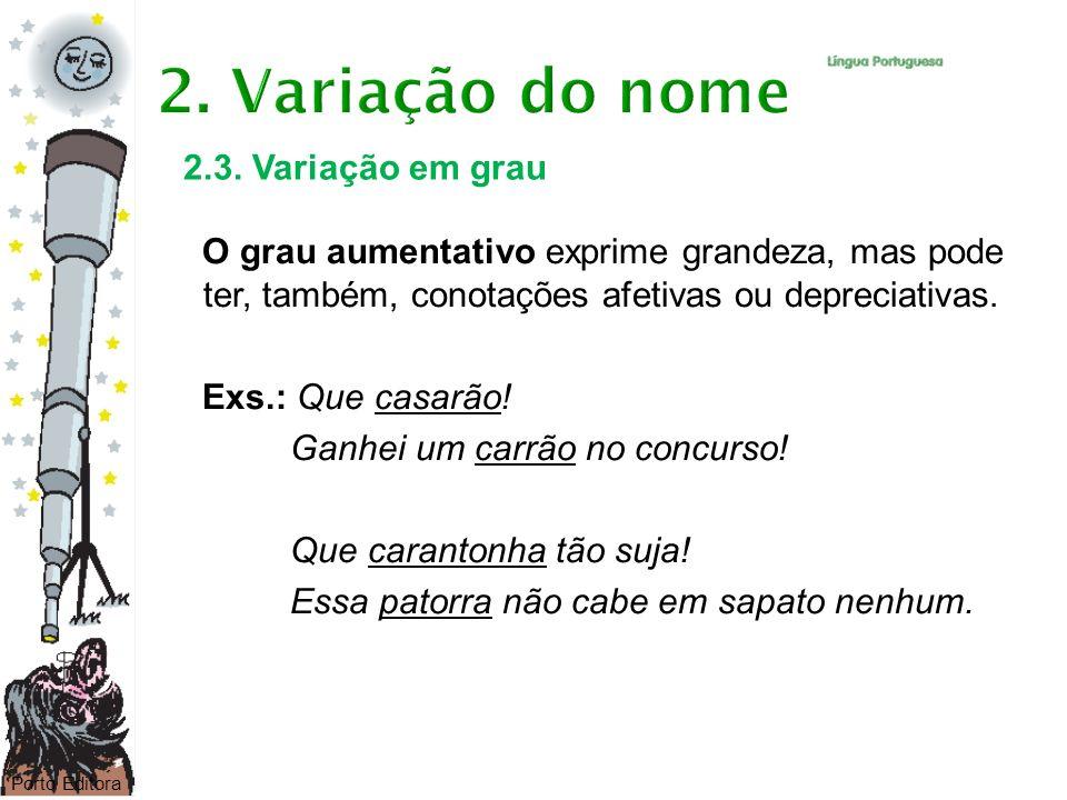 2. Variação do nome 2.3. Variação em grau