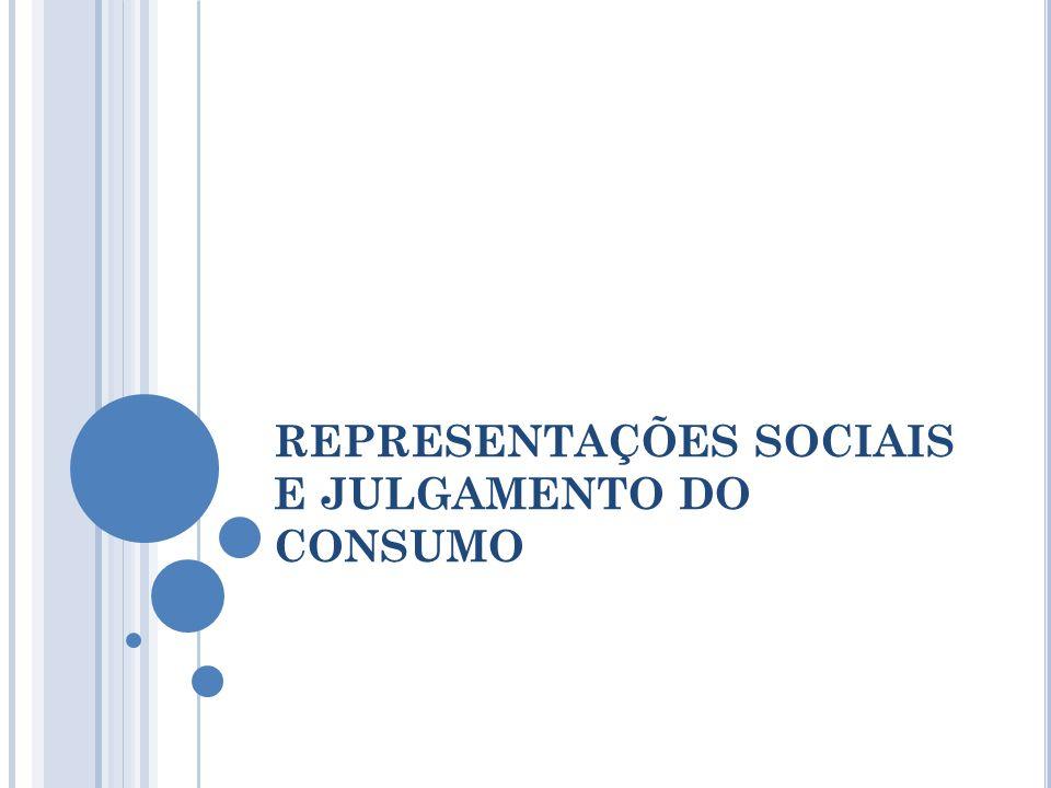 REPRESENTAÇÕES SOCIAIS E JULGAMENTO DO CONSUMO