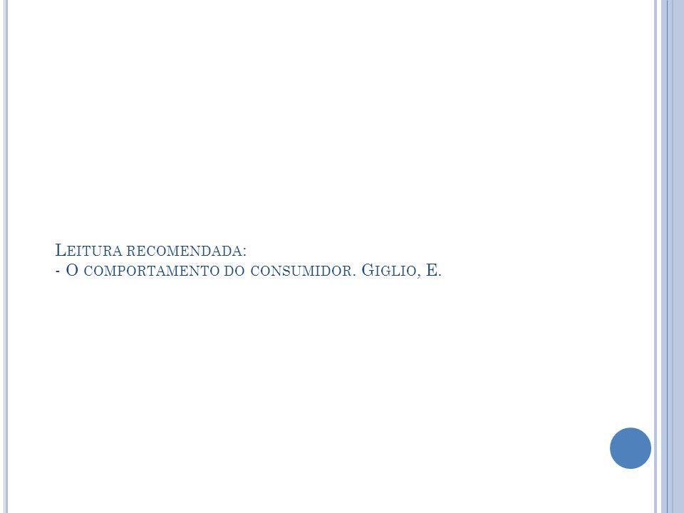 Leitura recomendada: - O comportamento do consumidor. Giglio, E.