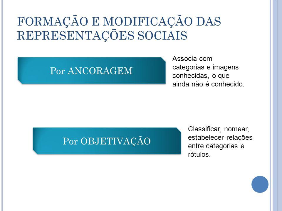 FORMAÇÃO E MODIFICAÇÃO DAS REPRESENTAÇÕES SOCIAIS