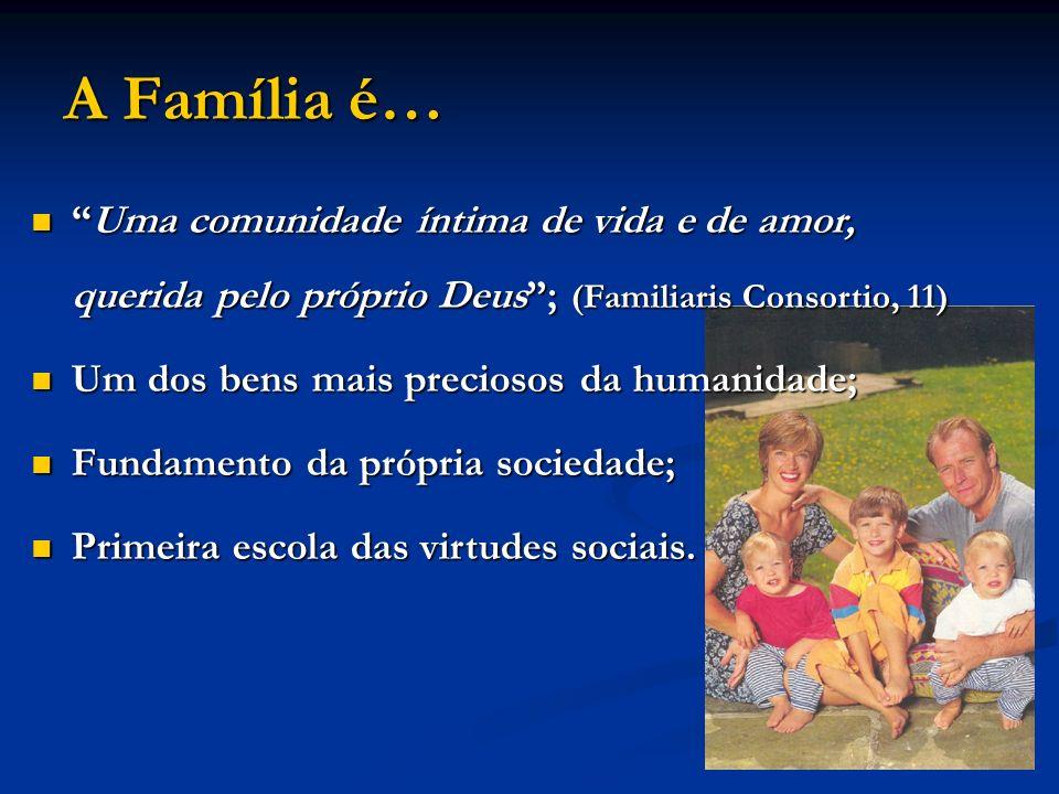 A Família é… Uma comunidade íntima de vida e de amor, querida pelo próprio Deus ; (Familiaris Consortio, 11)