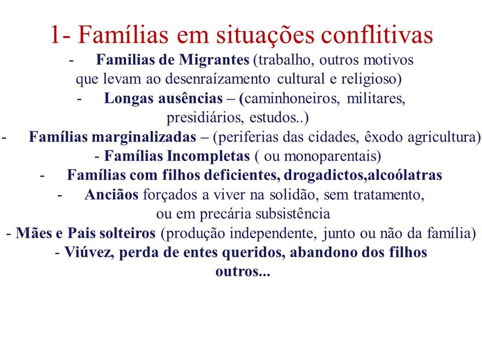 Famílias com filhos deficientes, drogadictos,alcoólatras