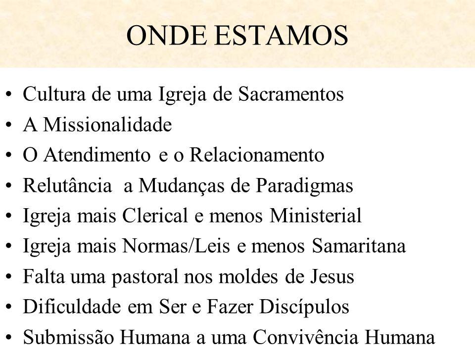 ONDE ESTAMOS Cultura de uma Igreja de Sacramentos A Missionalidade