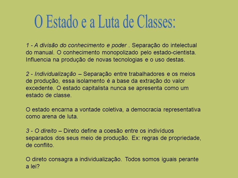 O Estado e a Luta de Classes: