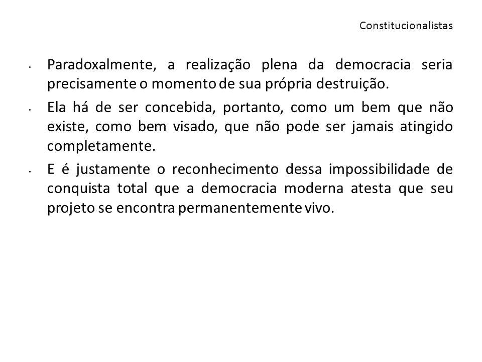 ConstitucionalistasParadoxalmente, a realização plena da democracia seria precisamente o momento de sua própria destruição.