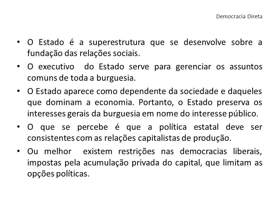 Democracia DiretaO Estado é a superestrutura que se desenvolve sobre a fundação das relações sociais.