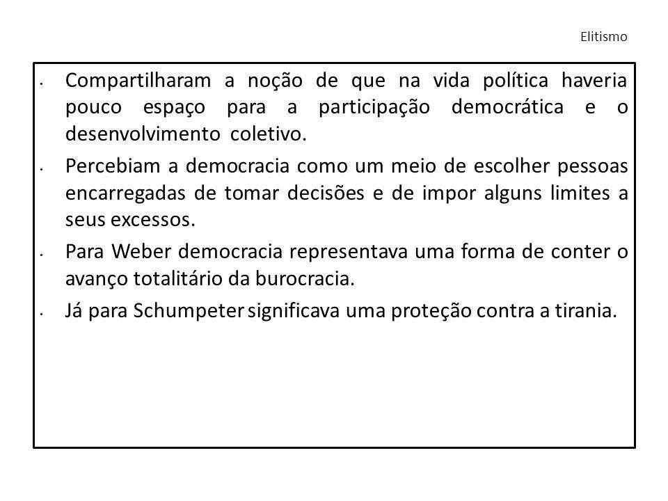 Já para Schumpeter significava uma proteção contra a tirania.