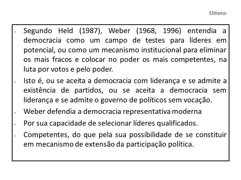 Weber defendia a democracia representativa moderna