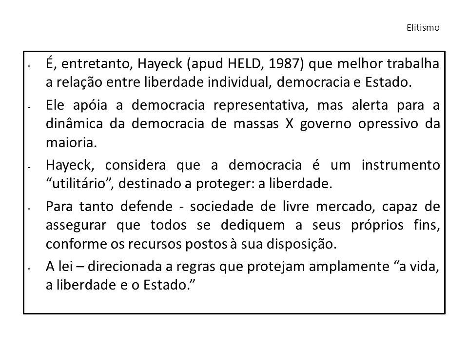Elitismo É, entretanto, Hayeck (apud HELD, 1987) que melhor trabalha a relação entre liberdade individual, democracia e Estado.