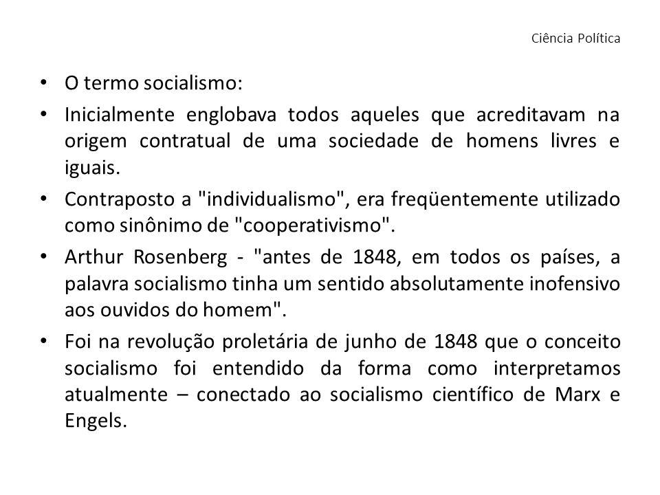 Ciência Política O termo socialismo: