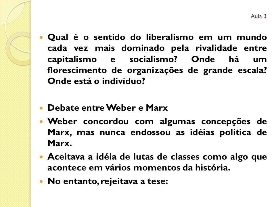 Debate entre Weber e Marx